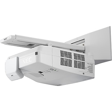 NEC Display 3500-Lumen Widescreen Ultra Short Throw Projector with Wall Mount, White, (NP-UM351W-WK)