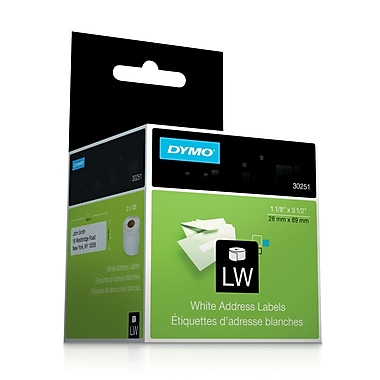 DYMO LW White Address Labels, 1-1/8-Inch x 3-1/2-Inch, Self-Adhesive, 2 Rolls of 130, For LabelWriter Printers