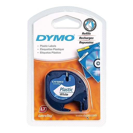 dymo 91331 label tape for letratag labelers 1 2 inch white staples