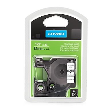 DYMO® 45110 D1 Label Tape Cartridge, 1/2-Inch x 23 Feet, Black/Clear
