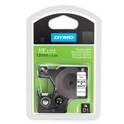 "Dymo® D1 Series Label Tape, 1/2"" x 11-1/2', Black on White"