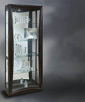 Philip Reinisch Co. Halo Gemini Lighted Curio Cabinet; Metallic Espresso