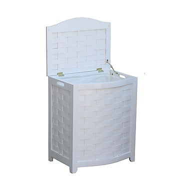 Oceanstar BHV0100W Bowed Front Veneer Laundry Wood Hamper with Interior Bag, White