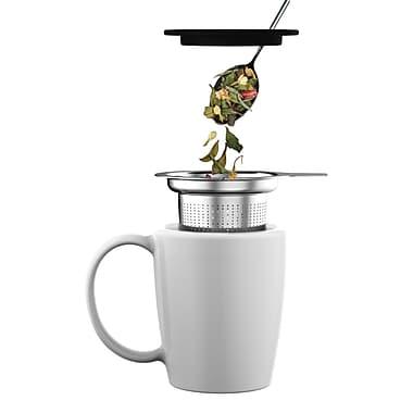 Mind Reader Fuse Stainless Steel Loose-Leaf Tea Infuser With Lid, Silver/Black (Tinf-Blk)
