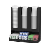 Mind Reader Flume 6-Compartment Upright Coffee Condiment and Cups Organizer (UPRIGHT6-BLK)