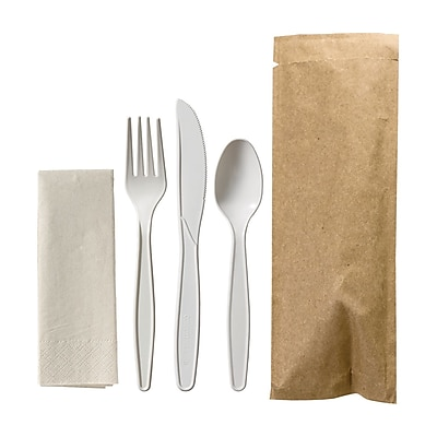Hoffmaster Kraft Cutlery Pouch, Napkin, Knife, Fork, Spoon (pack of 100)