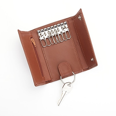 Royce Leather Trifold Key Case Organizer Wallet in Leather, Tan (612-TAN-5)
