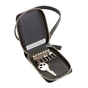 Royce Leather Black Genuine Saffiano Leather RFID Blocking Zippered Key Case Wallet (RFID-597-BLK-2)