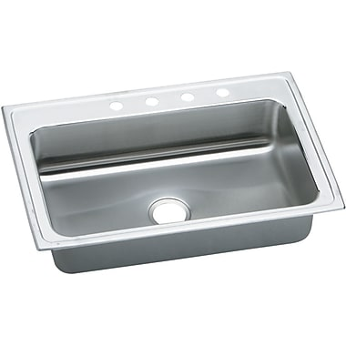 Elkay Gourmet 33'' x 22'' Lustertone Kitchen Sink w/ Perfect Drain; 4 Hole