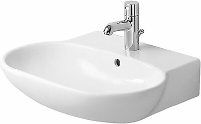 Duravit Foster Ceramic 24'' Wall Mount Bathroom Sink w/ Overflow; Three Hole