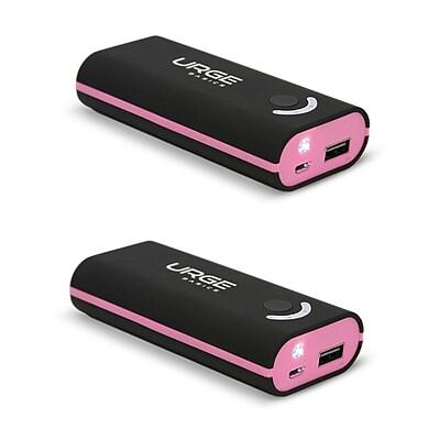 Urge Basics 4000mAh Power Bank, Black / Pink - 2 Pack