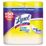 LYSOL® Brand Disinfecting Wipes, Dual Action, 7 X 8, Citrus, 75/canister, 2/pack, 3pk/ct