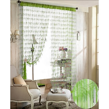 Dainty Home Chic Single Curtain Panel; Lime