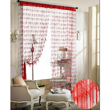 Dainty Home Chic Single Curtain Panel; Red