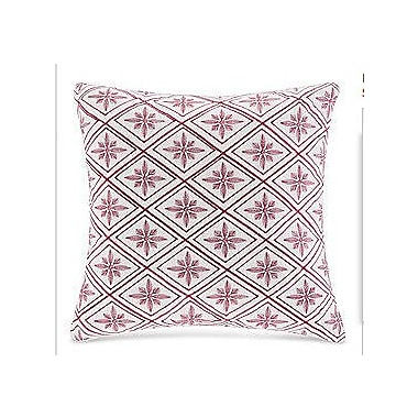 N Natori Cherry Blossom Geometric Throw Pillow; White