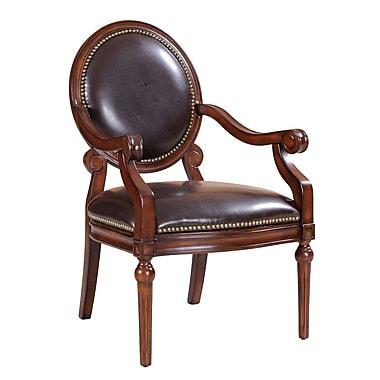 Madison Park Bi Cast Leather Roll Armchair w/ Nailheads