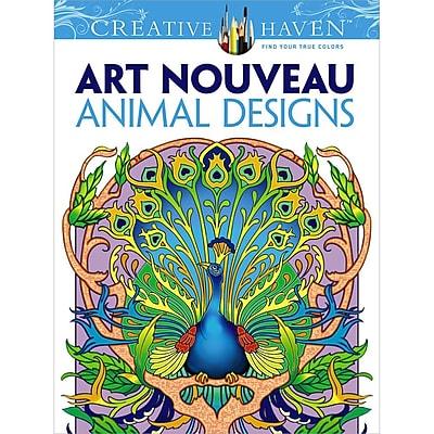Creative Haven Art Nouveau Animal Designs Coloring Book, Paperback