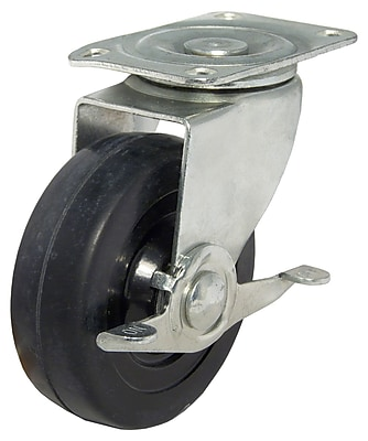 Richelieu Madico Rubber Caster 125mm, Swivel with Brake, Black (F25426)