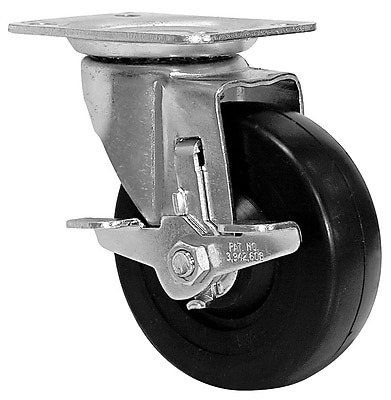 Richelieu Madico Rubber Caster 102mm, Swivel with Brake, Black (F25415)