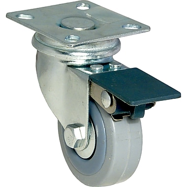 Richelieu Madico Grey Rubber Swivel Caster with Brake, 50mm, Metal (F24785)