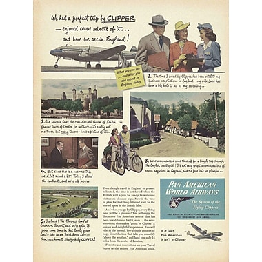 Marmont Hill England Clipper Ad Pan American Vintage Aviation Graphic Art on Wrapped Canvas
