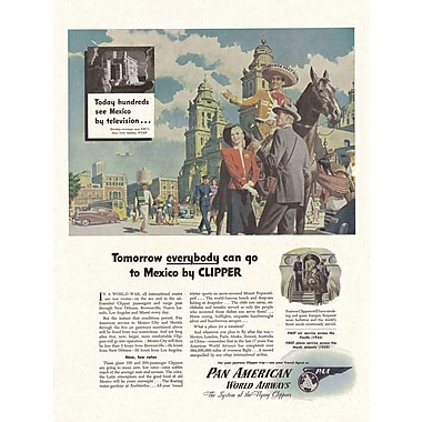 Marmont Hill Mexico Clipper Ad Pan American Vintage Aviation Graphic Art on Wrapped Canvas