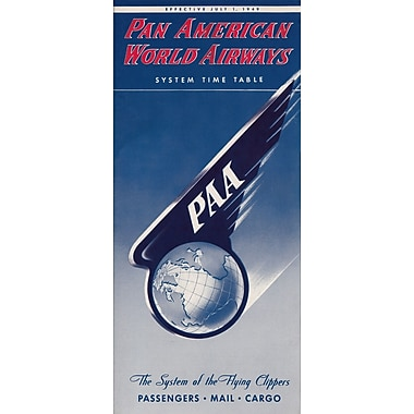 Marmont Hill Time Table Cover Pan American Vintage Aviation Graphic Art on Wrapped Canvas