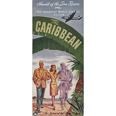 Marmont Hill Caribbean Brochure Front Pan American Vintage Aviation Graphic Art on Wrapped Canvas