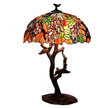 Warehouse of Tiffany Grapes Birds Mosaic 30'' Table Lamp