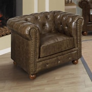 Armen Living Winston Chesterfield Chair; Cocoa