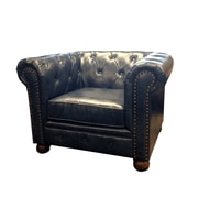Armen Living Winston Chesterfield Chair; Blue
