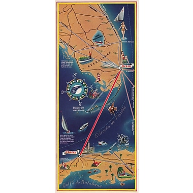Marmont Hill Havana Map Vertical Pan American Vintage Aviation Graphic Art on Wrapped Canvas
