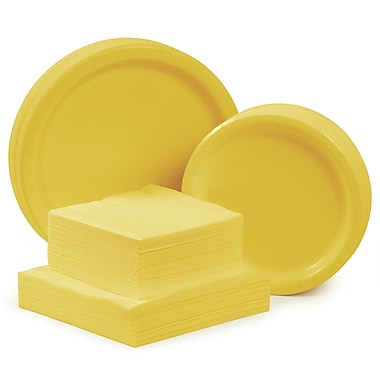 Creative Converting Tableware Entertaining Kit for 48 (Set of 196); School Bus Yellow