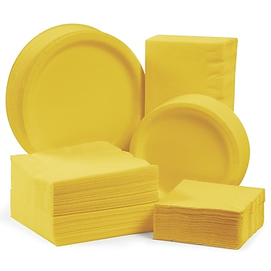 Creative Converting Tableware Entertaining Kit for 150 (Set of 600); School Bus Yellow