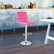 AdecoTrading Adjustable Height Swivel Bar Stool (Set of 2); Pink