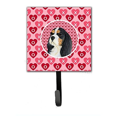 Caroline's Treasures Cavalier Spaniel Valentine's Love and Hearts Leash Holder and Wall Hook