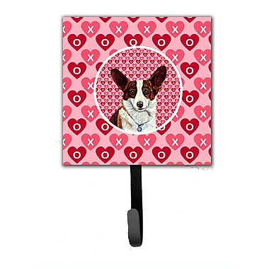 Caroline's Treasures Corgi Valentine's Love and Hearts Leash Holder and Wall Hook