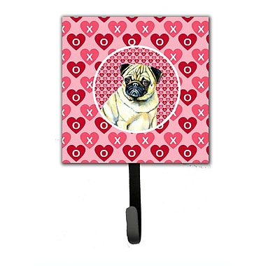 Caroline's Treasures Pug Valentine's Love and Hearts Leash Holder and Wall Hook