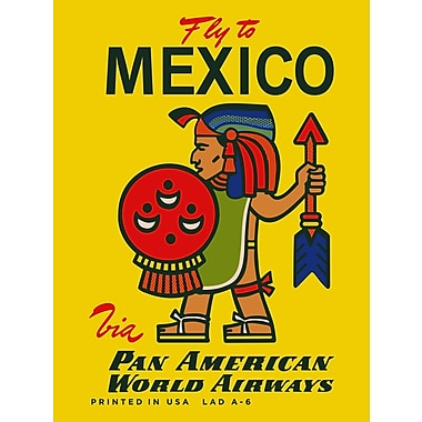 Marmont Hill MEXICO Pan Am Vintage Aviation Vintage Advertisement on Wrapped Canvas; 24'' H x 16'' W