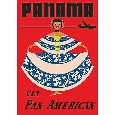 Marmont Hill PANAMA Pan American Vintage Aviation Graphic Art on Wrapped Canvas; 45'' H x 30'' W