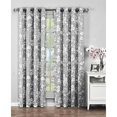 Window Elements Bohemian Nature/Floral Sheer Grommet Curtain Panels (Set of 2); Grey