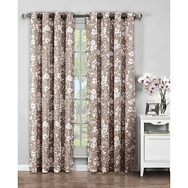 Window Elements Bohemian Nature/Floral Sheer Grommet Curtain Panels (Set of 2); Mocha