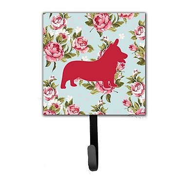 Caroline's Treasures Corgi Shabby Elegance Roses Leash Holder and Wall Hook