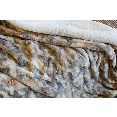 Tache Home Fashion Russian Lynx Faux Fur Throw Blanket; 63'' x 87''
