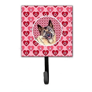Caroline's Treasures Norwegian Elkhound Valentine's Love and Hearts Leash Holder and Key Hook