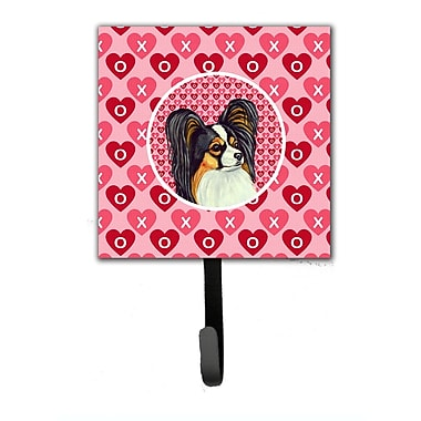 Caroline's Treasures Papillon Valentine's Love and Hearts Leash Holder and Wall Hook