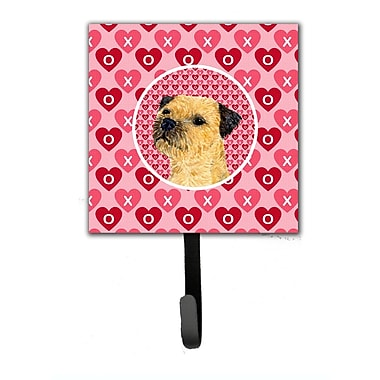 Caroline's Treasures Border Terrier Valentine's Love and Hearts Leash Holder and Wall Hook