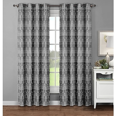 Window Elements Juneau Geometric Sheer Curtain Panels (Set of 2); Charcoal