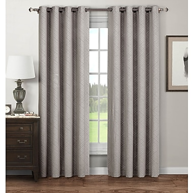 Window Elements Stockholm Geometric Sheer Curtain Panels (Set of 2); Grey
