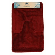 Tache Home Fashion 2 Piece Super Absorbent Solid Rug Set; Red